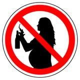 Знак запрета куря сигареты и выпивая спирта для беременной женщины, вектора бесплатная иллюстрация
