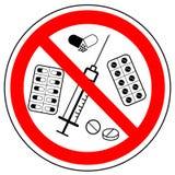 Знак запрета лекарств, таблеток, вектора бесплатная иллюстрация