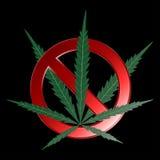 Знак запрета марихуаны также вектор иллюстрации притяжки corel бесплатная иллюстрация