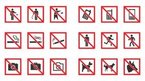 Знак запрета не установил - никакой дым, никакие собак, никакой телефон etc иллюстрация вектора