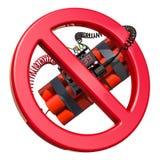 Знак запрета с взрывчаткой бомбы TNT с цифровым комплексом предпусковых операций бесплатная иллюстрация