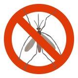 Знак запрета с москитом Стоковая Фотография