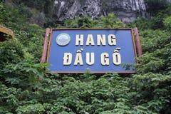 Знак за пещерой в районе Halong Стоковые Изображения