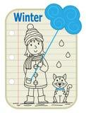 Знак зимы девушки стоковое изображение rf