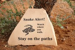 Знак змейки бдительный Стоковая Фотография RF