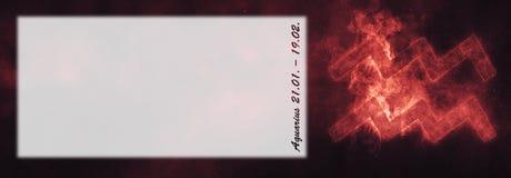 Знак зодиака водолея Знак horoscope водолея Roo текста шаблона Стоковое фото RF