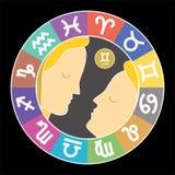 Знак зодиака Джемини Водолей, libra, leo, Тавр, рак, pisces, virgo, козерог, Стреец, aries, scorpio Астурии иллюстрация штока