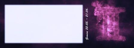 Знак зодиака Джемини Знак гороскопа Джемини Комната текста шаблона Стоковая Фотография RF