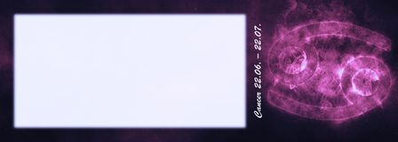 Знак зодиака Карциномы Знак гороскопа Карциномы Комната текста шаблона Стоковое Фото