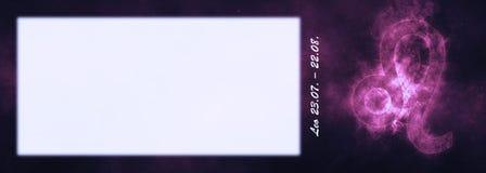 Знак зодиака Лео Знак гороскопа Лео Комната текста шаблона Стоковые Изображения RF