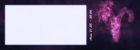 Знак зодиака Aries Знак гороскопа Aries Комната текста шаблона Стоковые Фотографии RF