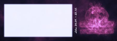 Знак зодиака Libra Знак гороскопа LIBRA Комната текста шаблона Стоковое фото RF