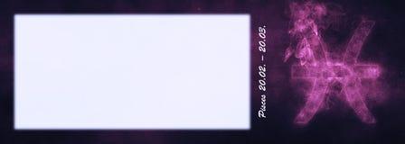 Знак зодиака Pisces Знак гороскопа Pisces Комната текста шаблона Стоковая Фотография RF