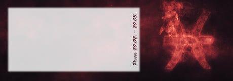 Знак зодиака Pisces Знак гороскопа Pisces Комната текста шаблона Стоковое Фото