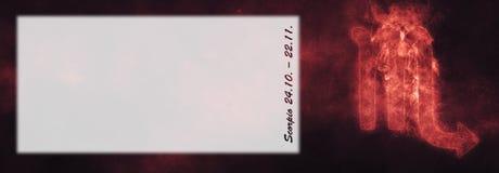 Знак зодиака Scorpio Знак гороскопа Scorpio Комната текста шаблона Стоковая Фотография RF