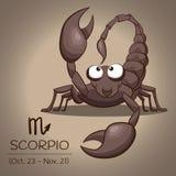 Знак зодиака Scorpio, ретро коричневый скорпион в векторе EPS10 Стоковое Фото