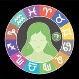 Знак зодиака Virgo Водолей, libra, leo, Тавр, рак, pisces, козерог, Стреец, aries, gemini, scorpio Астурии иллюстрация вектора