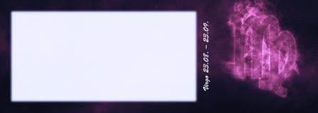 Знак зодиака Virgo Знак гороскопа Virgo Комната текста шаблона Стоковые Фото
