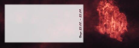 Знак зодиака Virgo Знак гороскопа Virgo Комната текста шаблона Стоковое фото RF