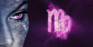 Знак зодиака Virgo Женщины астрологии ночного неба Стоковые Изображения