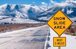 Знак зоны скольжения снега Стоковое фото RF