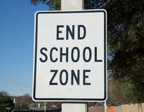 Знак зоны школы конца Стоковое Фото