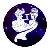 Знак зодиака Джемини, символ гороскопа, иллюстрация вектора Стоковые Изображения RF