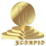Знак зодиака золота Scorpio - символ астрологического и гороскопа дальше Стоковые Фото