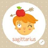 Знак зодиака Стрелца, девушка с яблоком на голове Стоковые Изображения