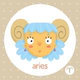 Знак зодиака Aries, девушка с рожками Стоковое Изображение RF