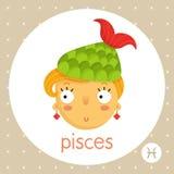 Знак зодиака Pisces, девушка с кабелем рыб Стоковое Изображение