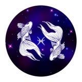 Знак зодиака Pisces, символ гороскопа, иллюстрация вектора Стоковые Фото