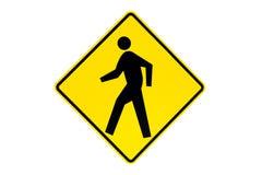 знак изолированный скрещиванием пешеходный Стоковая Фотография