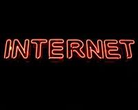 знак интернета неоновый Стоковое Фото