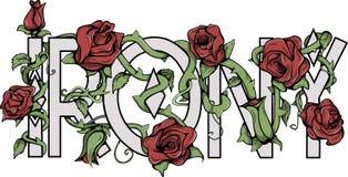 Знак иронии с розами Стоковые Изображения RF