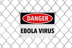 Знак ируса Эбола с связанной проволокой загородкой Стоковая Фотография RF
