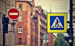 Знак или дорожный знак улицы с влиянием ретро Стоковое Изображение RF