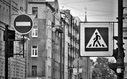Знак или дорожный знак улицы с тоном monochrome влияния Стоковые Изображения