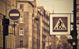Знак или дорожный знак улицы с sepia влияния Стоковые Фотографии RF