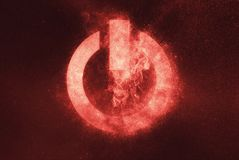 Знак кнопки силы, символ кнопки силы Абстрактное backg ночного неба Стоковая Фотография RF