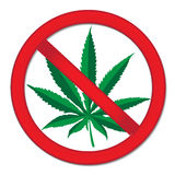 Знак конопли запрета Красная марихуана запрета знака Остановите знак лекарств также вектор иллюстрации притяжки corel Стоковые Изображения RF