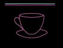 знак кофейной чашки неоновый Стоковые Изображения