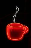 знак кофейной чашки неоновый стоковые изображения rf