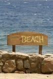 знак Красного Моря пляжа Стоковое Фото