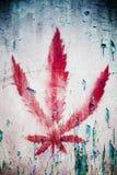 знак красного цвета марихуаны Стоковое Изображение RF