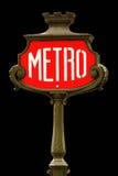 знак красного цвета paris метро Стоковое Фото