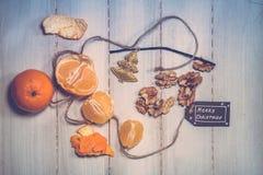 Знак кусков Tangerine, чокнутого и с Рождеством Христовым Стоковое Фото