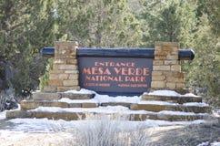 Знак к национальному парку мезы Verde Стоковые Изображения RF