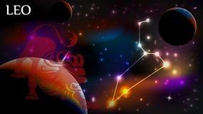 Знак Лео астрологический и космос экземпляра Стоковые Фотографии RF