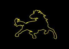 знак лошади неоновый форменный Стоковое Изображение RF